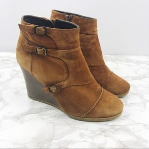 J. Crew Greer Wedge Ankle Boots Suede Brown